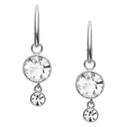 fossil Bezeled Stainless Steel Drop Earrings JOF00320040
