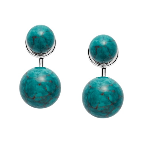 fossil Turquoise Ball Reconstituted Marble Front-Back Earrings JOF00360040