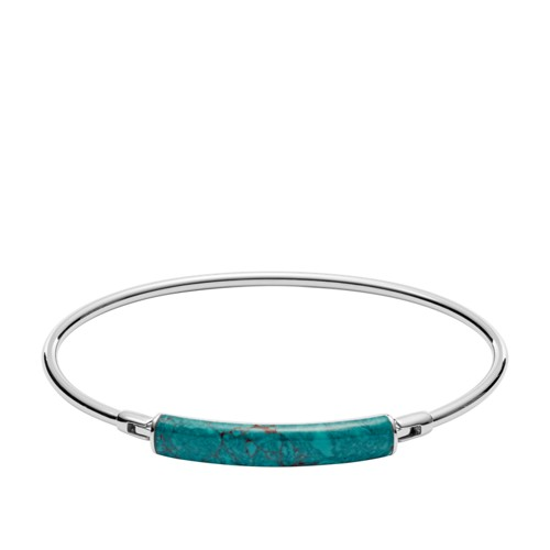 fossil Turquoise Reconstituted Marble Plaque Stainless Steel Bangle JOF00367040
