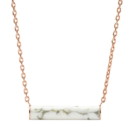fossil White Reconstituted Marble Plaque Rose Gold-Tone Steel Necklace JOF00370791