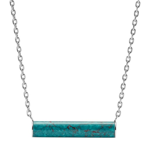 fossil Turquoise Reconstituted Marble Plaque Stainless Steel Necklace JOF00371040