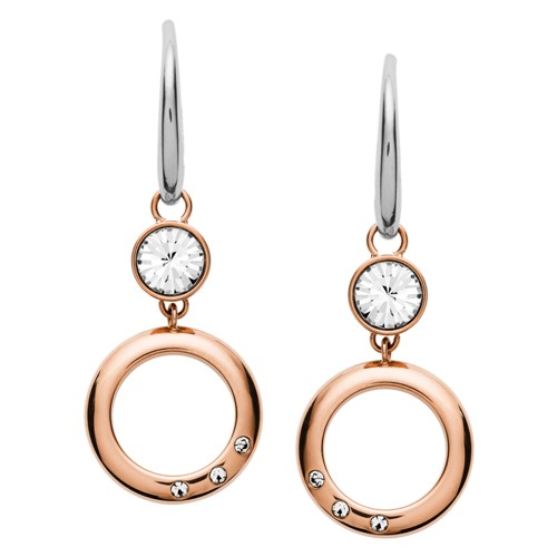 Open Circle Rose Gold-Tone Stainless Steel Earrings JOF00411791