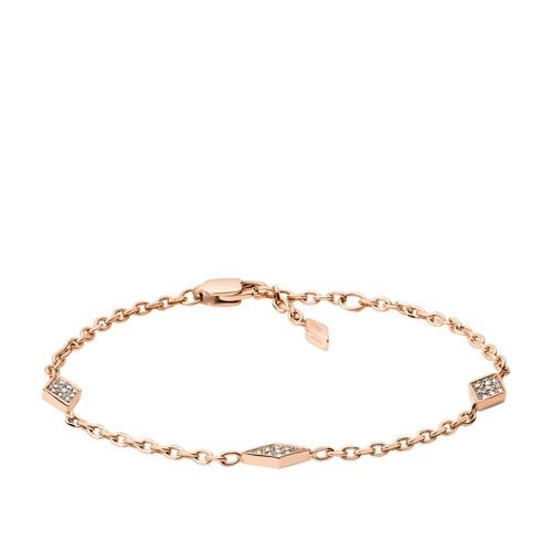 fossil Diamond Rose Gold-Tone Stainless Steel Bracelet JOF00420791