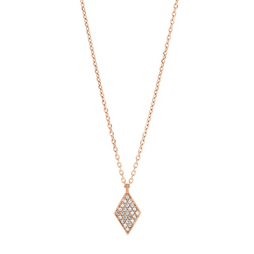 fossil Diamond Rose Gold-Tone Stainless Steel Necklace JOF00423791