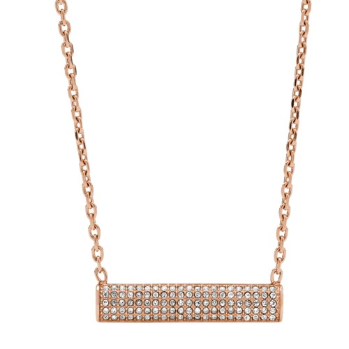 fossil Bar Rose Gold-Tone Stainless Steel Necklace JOF00427791