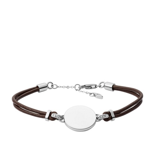 fossil Disc Brown Leather Bracelet JOF00430040