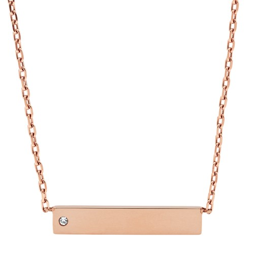 fossil Bar Rose Gold-Tone Stainless Steel Necklace JOF00435791