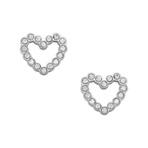 fossil Open Heart Stainless Steel Earrings JOF00454040