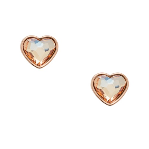 fossil Multi-Faceted Heart Rose Gold-Tone Stainless Steel Earrings JOF00455791
