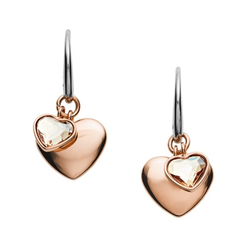 Double Heart Rose Gold-Tone Stainless Steel Drop Earrings JOF00456791