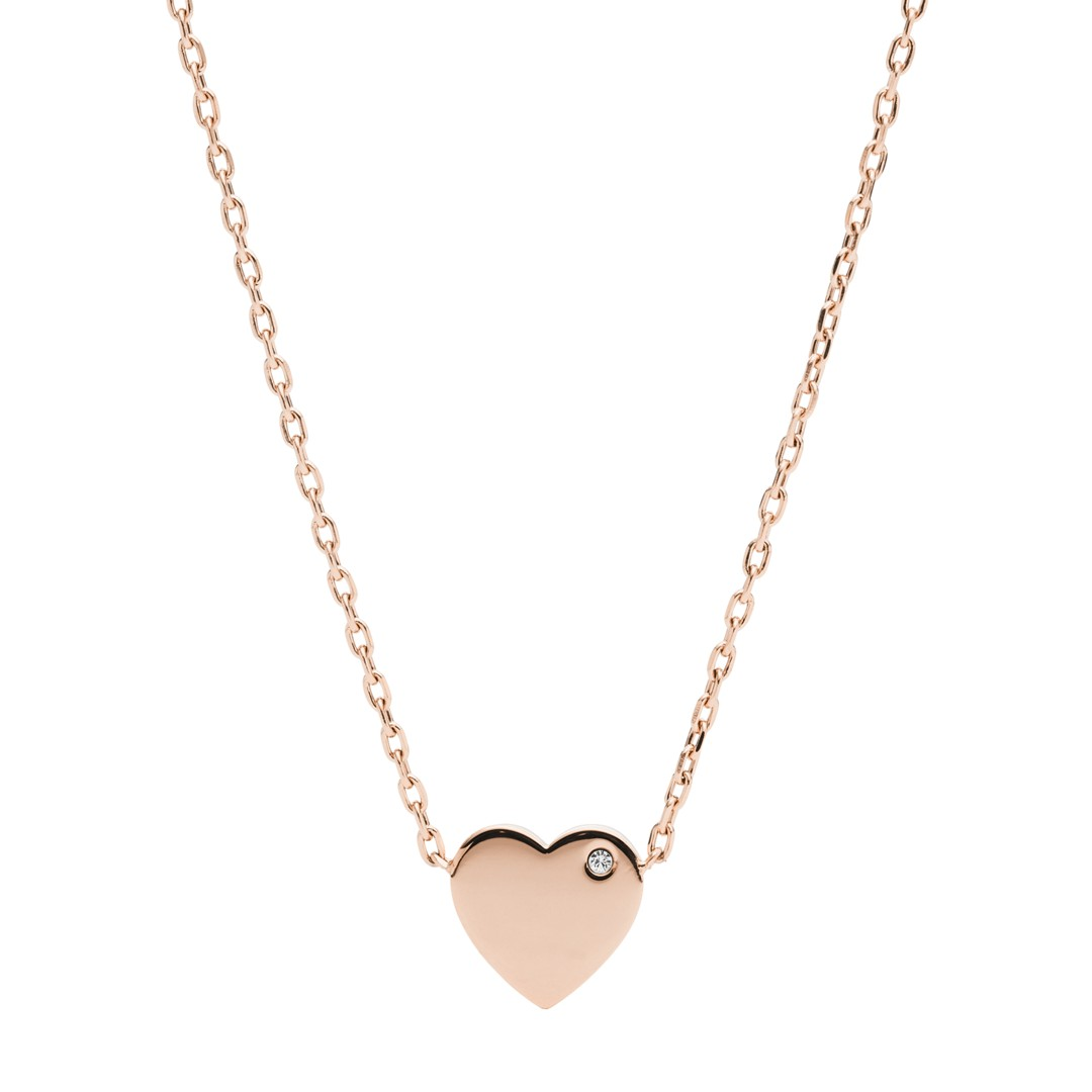 Fossil Heart Rose Gold-Tone Stainless Steel Necklace Jof00463791 jewelry - J..