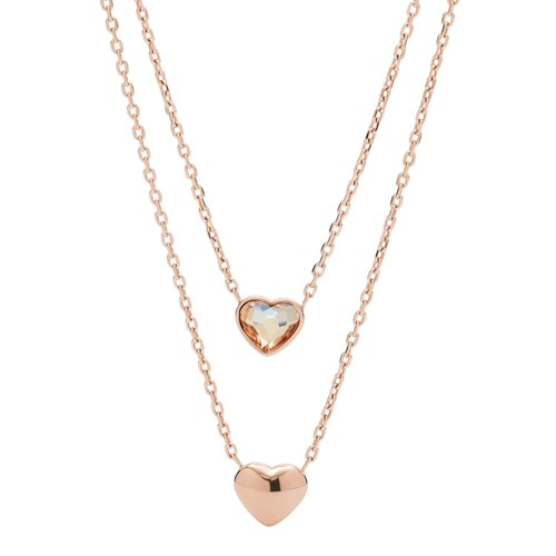 fossil Convertible Double Heart Rose Gold-Tone Stainless Steel Necklace JOF00465791