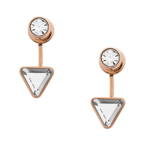 fossil Triangle Rose Gold-Tone Stainless Steel Front-Back Drop Earrings JOF00472791