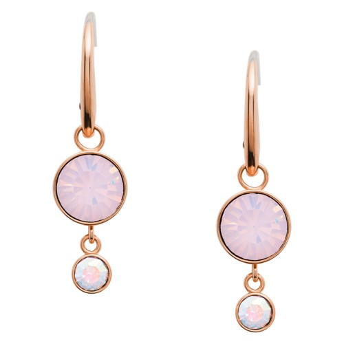 fossil Double Circle Rose Gold-Tone Steel Drop Earrings JOF00477791