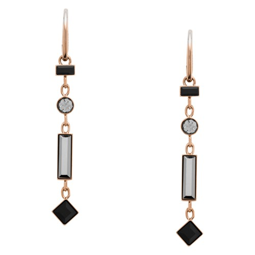 fossil Linear Rose Gold-Tone Stainless Steel Drop Earrings JOF00478791