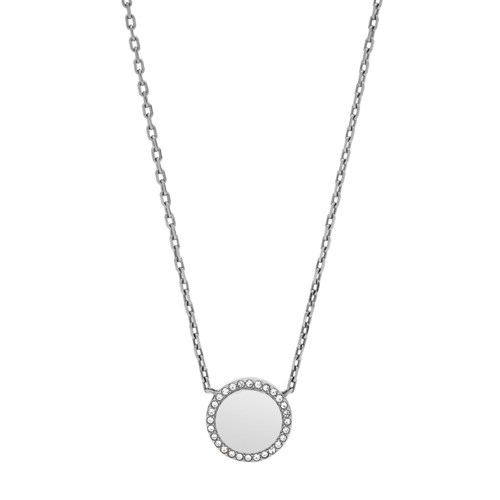 Pavé Disc Stainless Steel Necklace JOF00490040