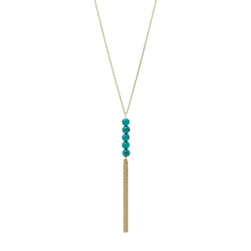 fossil Tassel Gold-Tone Stainless Steel Necklace JOF00522710