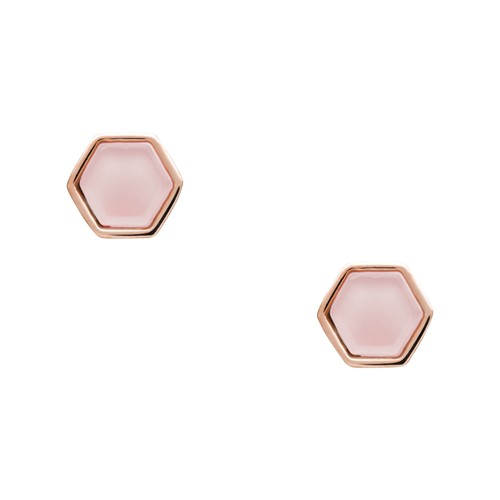 fossil Rose Quartz Rose Gold-Tone Stainless Steel Studs JOF00537791