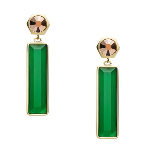 fossil Linear Green Gold-Tone Stainless Steel Drop Earrings JOF00540710