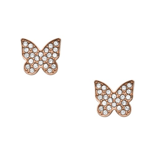 fossil Rose Gold-Tone Stainless Steel Pavé Butterfly Studs JOF00546791