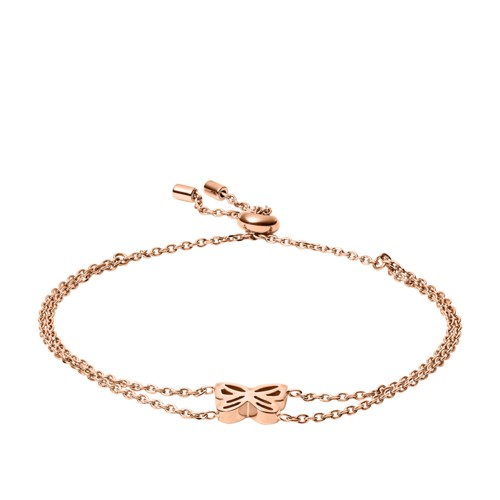 fossil Double Chain Butterfly Rose Gold-Tone Stainless Steel Bracelet JOF00554791