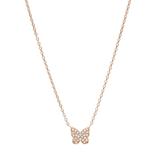fossil Rose Gold-Tone Stainless Steel Butterfly Necklace JOF00563791