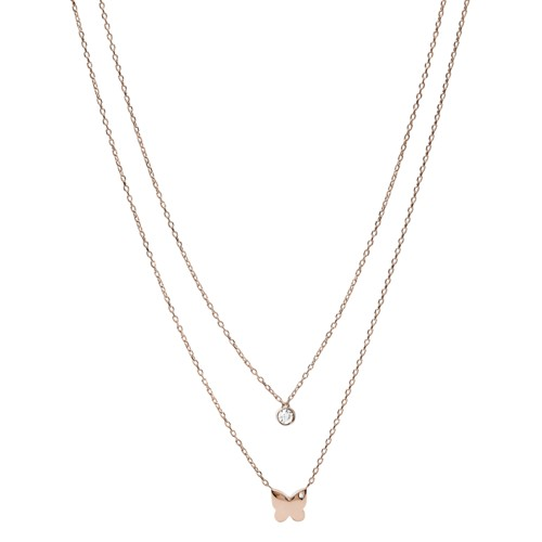 fossil Rose Gold-Tone Stainless Steel Convertible Necklace JOF00564791
