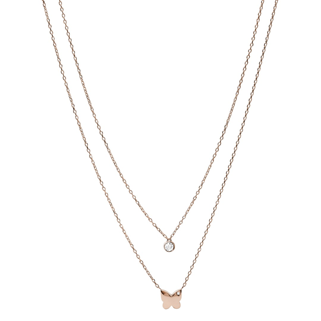 Fossil Rose Gold-Tone Stainless Steel Convertible Necklace Jof00564791 jewelry - JOF00564791-WSI