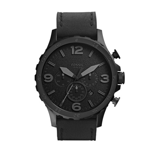 fossil Nate Chronograph Black Leather Watch JR1354