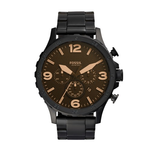 fossil Nate Chronograph Black Stainless Steel Watch JR1356