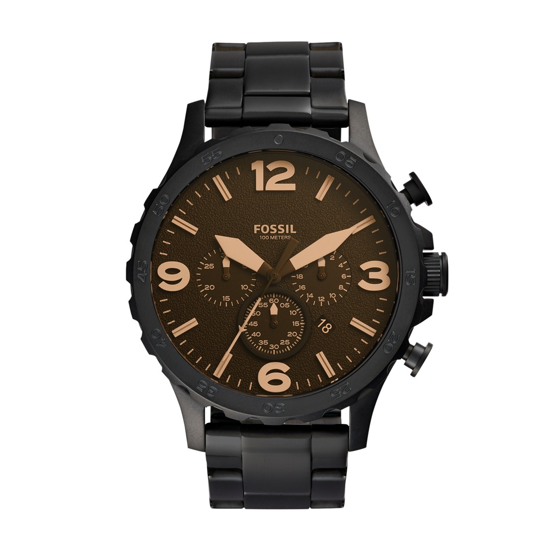 Fossil Nate Chronograph Black Stainless Steel Watch Jr1356  - JR1356-WSI
