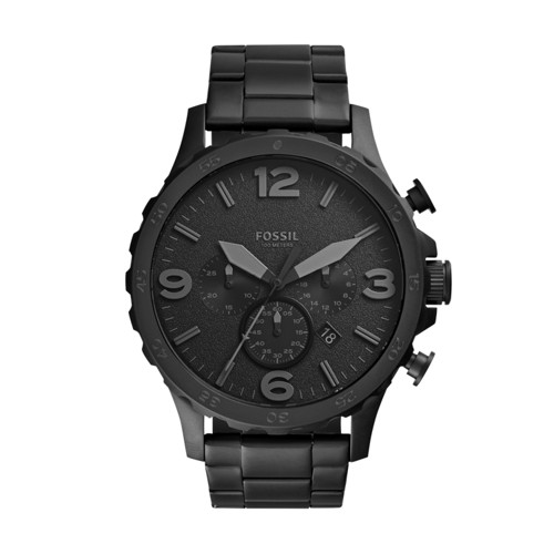 Fossil Nate Chronograph Stainless Steel Watch - Black - JR1401
