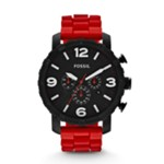 Nate Chronograph Silicone Watch Red Black, Fashionable Men's Casual Watches Fossil Discount JR1422
