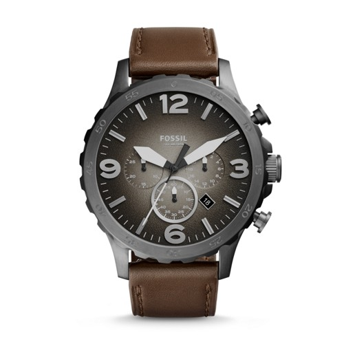 Fossil Nate Chronograph Brown Leather Watch Jr1424