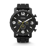 Nate Chronograph Silicone Watch Black Black, Fashionable Men's Casual Watches Fossil Discount JR1425