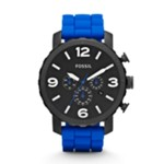 Nate Chronograph Silicone Watch Blue Black, Fashionable Men's Casual Watches Fossil Discount JR1426