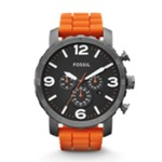 Nate Chronograph Silicone Watch Orange Black, Fashionable Men's Casual Watches Fossil Discount JR1428