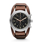 Compass Chronograph Leather Watch - Brown Black, Smart Men's Sport Watches Fossil Discount JR1432