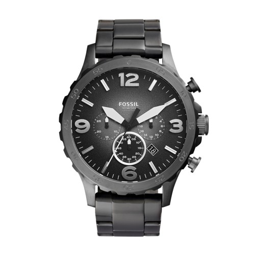 fossil Nate Chronograph Smoke Stainless Steel Watch JR1437