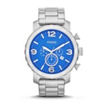Nate Chronograph Stainless Steel Watch Blue, Fashionable Men's Casual Watches Fossil Discount JR1445