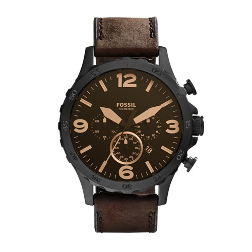 Fossil Nate Chronograph Brown Leather Watch JR1487