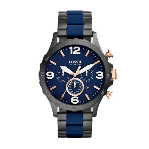 Fossil Nate Chronograph Black &Amp; Blue Stainless Steel Watch Jr1494