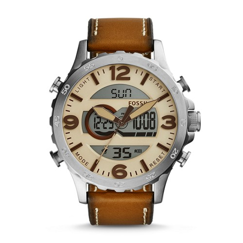 Fossil Nate Analog-Digital Brown Leather Watch JR1506