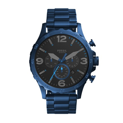 Fossil Nate 50mm Chronograph Blue Stainless Steel Watch JR1530
