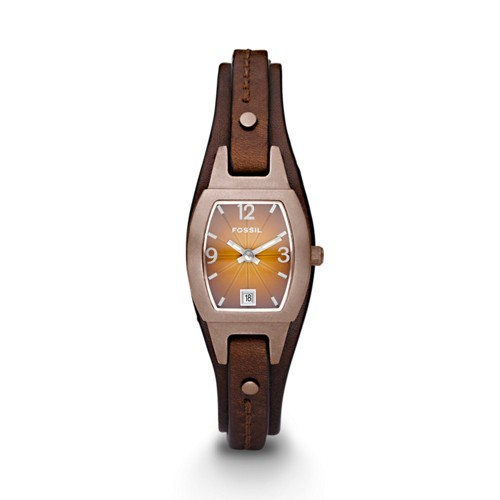 Fossil Marjorie Three Hand Cuff Leather Watch Brown - JR9760