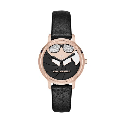 Karl-Lagerfeld Camille Rose Gold-Tone And Black Leather Two-Hand Watch  Jewelry - KL2227