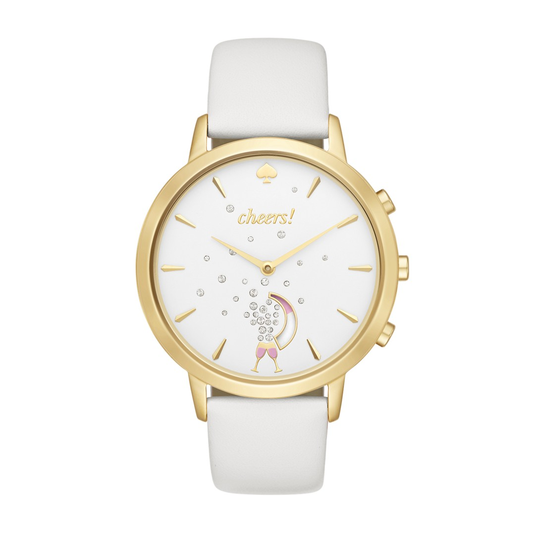 Kate-Spade-New-York Refurbished Kate Spade New York Gold-Tone And White Leat..