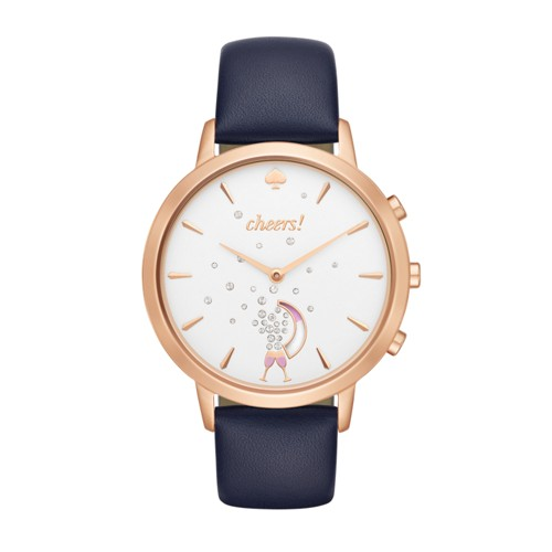 Kate-Spade-New-York Kate Spade New York Rose Gold-Tone And Navy Leather Metr..