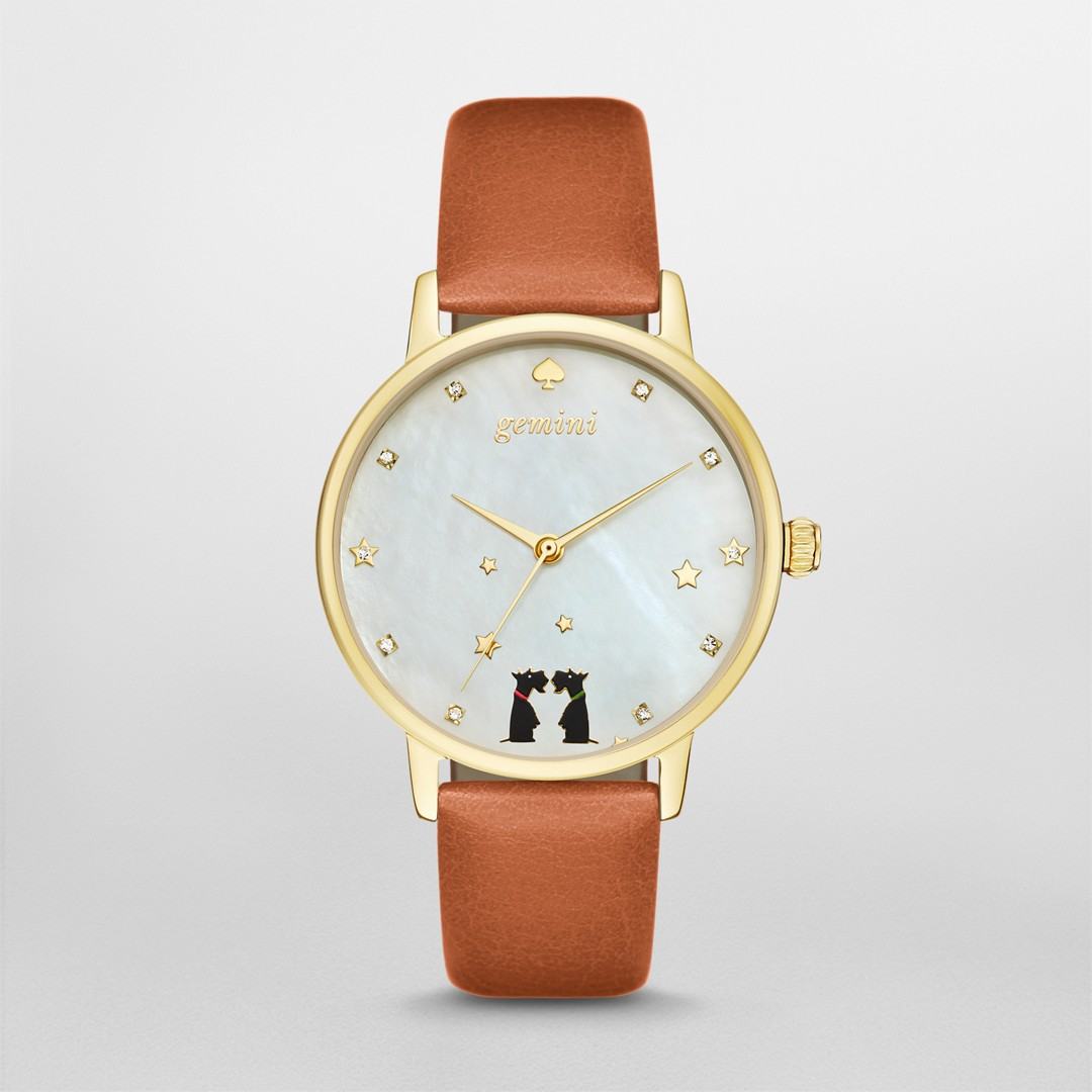 Kate-Spade Kate Spade New York Luggage Leather And Gold-Tone Metro Watch Ksw..