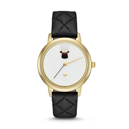 Kate-Spade Kate Spade New York Gold-Tone And Black Leather Metro Watch Ksw12..